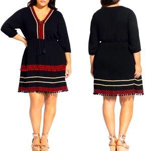 City Chic black dress red pom poms size 24